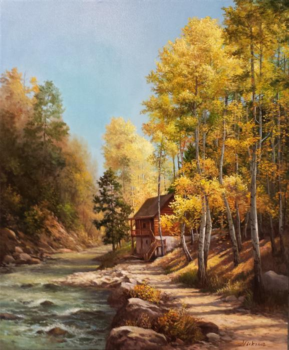 Original art for sale at UGallery.com | Aspens in Fall by NIKOLAY RIZHANKOV | $1,075 | Oil painting | 24' h x 20' w | http://www.ugallery.com/oil-painting-aspens-in-fall