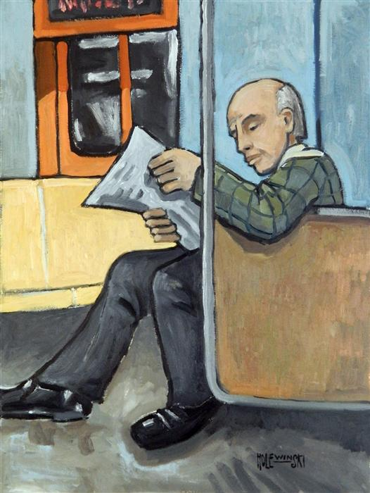 Discover Original Art by Robert  Holewinski | On the Subway oil painting | Art for Sale Online at UGallery