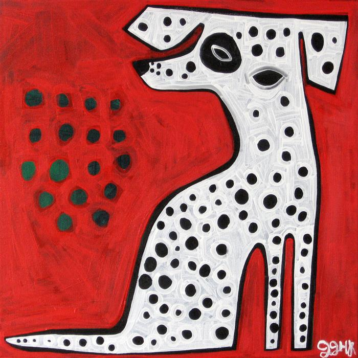 Original art for sale at UGallery.com | Dalmatian on Red by JESSICA JH ROLLER | $600 | Acrylic painting | 20' h x 20' w | http://www.ugallery.com/acrylic-painting-dalmatian-on-red