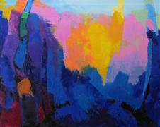 Abstract art,Expressionism art,Landscape art,Non-representational art,oil painting,Blue Woods