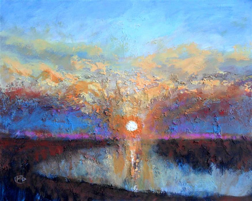 Discover Original Art by Kip Decker | Sunrise in a Dense Fog acrylic painting | Art for Sale Online at UGallery
