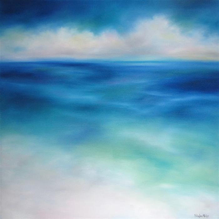 Original art for sale at UGallery.com | Sea Blues by NANCY HUGHES MILLER | $1,775 | Oil painting | 36' h x 36' w | http://www.ugallery.com/oil-painting-sea-blues