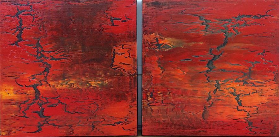 Original art for sale at UGallery.com | Diptych: When Soul Meets Fire by ALICIA DUNN | $1,275 | Acrylic painting | 18' h x 36' w | http://www.ugallery.com/acrylic-painting-when-soul-meets-fire-diptych