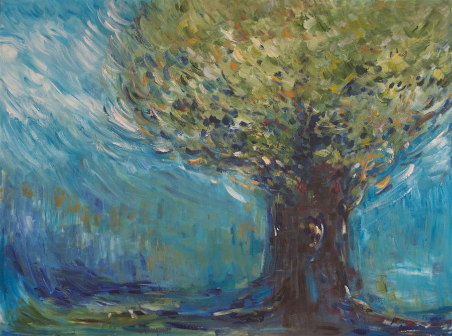 Original art for sale at UGallery.com | The Big Tree by KAJAL ZAVERI | $2,675 | Oil painting | 30' h x 40' w | http://www.ugallery.com/oil-painting-the-big-tree