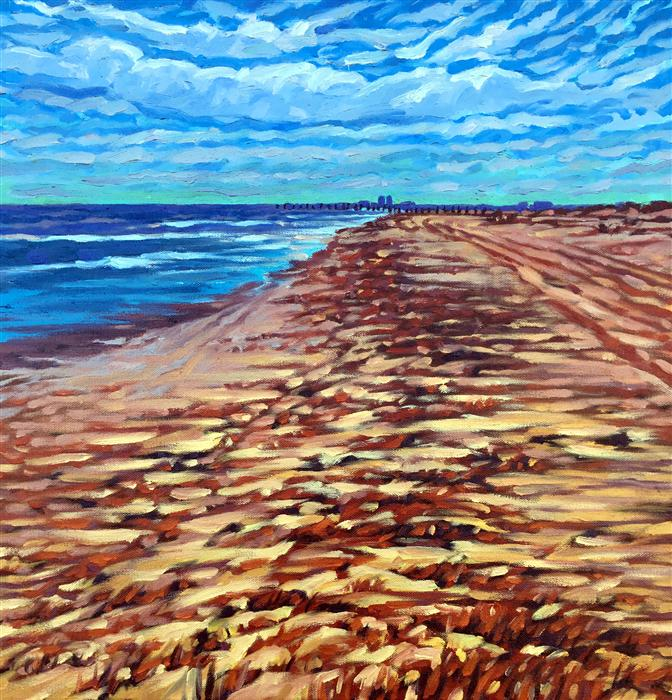 Discover Original Art by Mark Nesmith | Towards Galveston oil painting | Art for Sale Online at UGallery