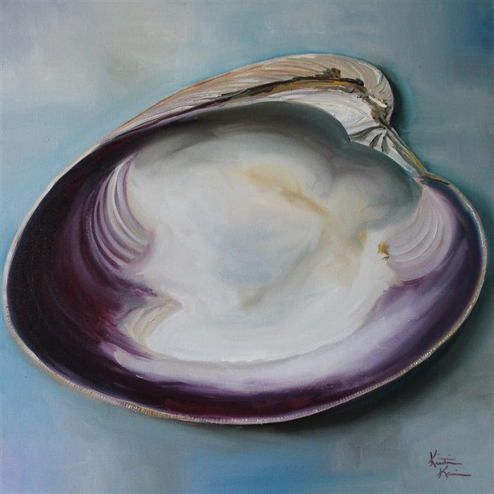 Original art for sale at UGallery.com | Atlantic Clam Shell by KRISTINE KAINER | $1,100 | Oil painting | 20' h x 20' w | http://www.ugallery.com/oil-painting-atlantic-clam-shell