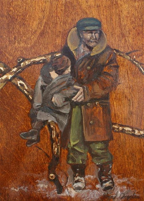 Discover Original Art by Abigail Drapkin | The Wood Chopper and His Son oil painting | Art for Sale Online at UGallery