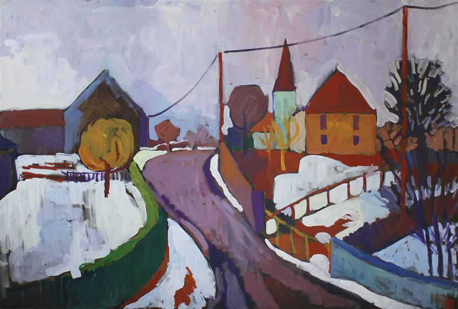 Original art for sale at UGallery.com | Snow on a Village by ROBERT HOFHERR | $1,375 | Acrylic painting | 24' h x 36' w | http://www.ugallery.com/acrylic-painting-snow-on-a-village