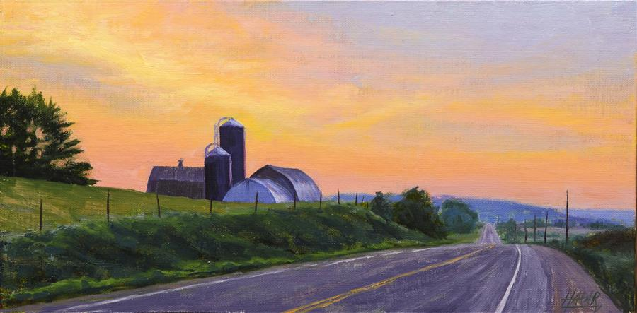Original art for sale at UGallery.com | Country Sunrise by NATHAN HAGER | $650 | Oil painting | 6' h x 12' w | http://www.ugallery.com/oil-painting-country-sunrise