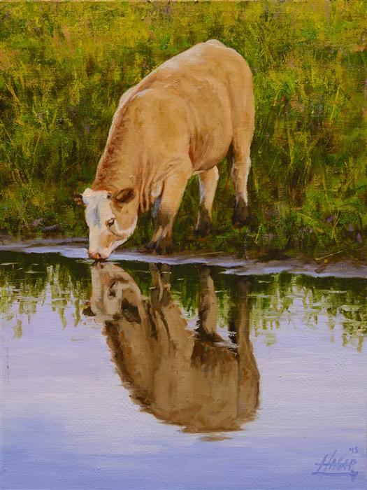 Original art for sale at UGallery.com | Pasture Reflections by NATHAN HAGER | $700 | Oil painting | 12' h x 9' w | http://www.ugallery.com/oil-painting-pasture-reflections