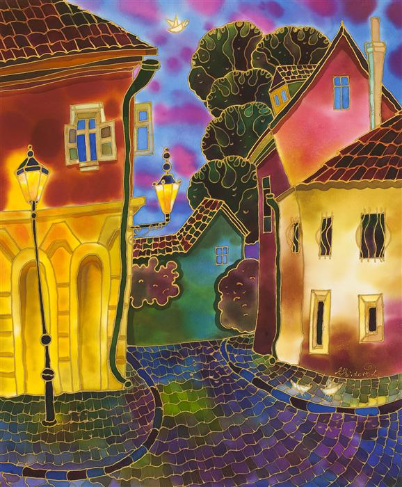 Discover Original Art by Yelena Sidorova | Cozy Street, Prague mixed media artwork | Art for Sale Online at UGallery