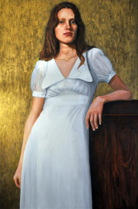 Discover Original Art by Sonja Sweterlitsch | Sarah in a White Dress oil painting | Art for Sale Online at UGallery