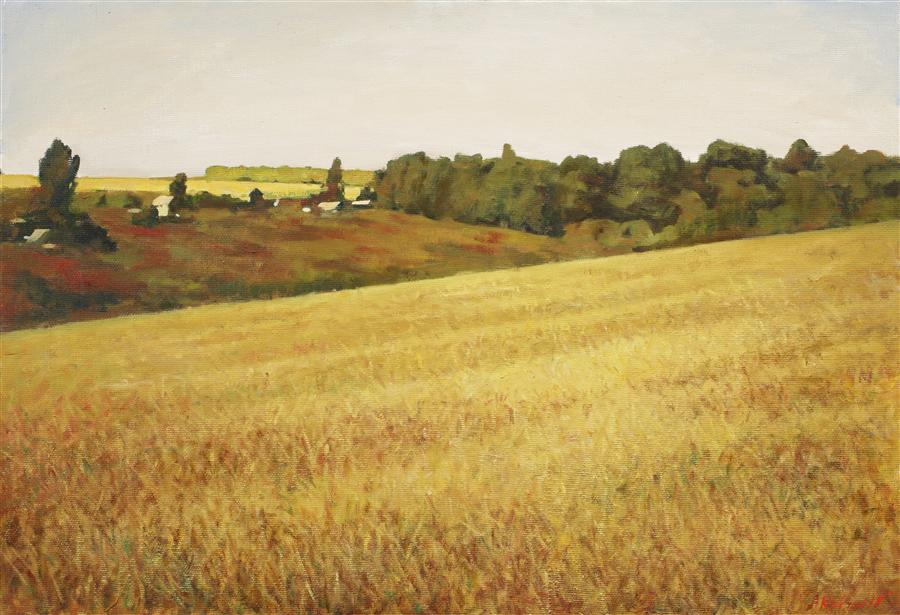 Original art for sale at UGallery.com | Russian Field by ARSENII KOVTUN | $2,100 | Oil painting | 26' h x 38' w | http://www.ugallery.com/oil-painting-russian-field