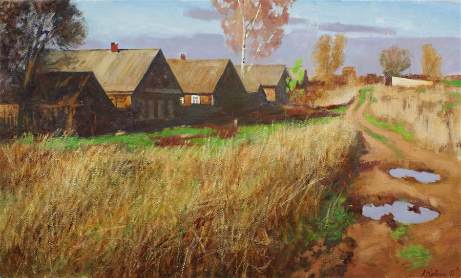 Original art for sale at UGallery.com | In the Village by ARSENII KOVTUN | $2,300 | Oil painting | 24' h x 40' w | http://www.ugallery.com/oil-painting-in-the-village