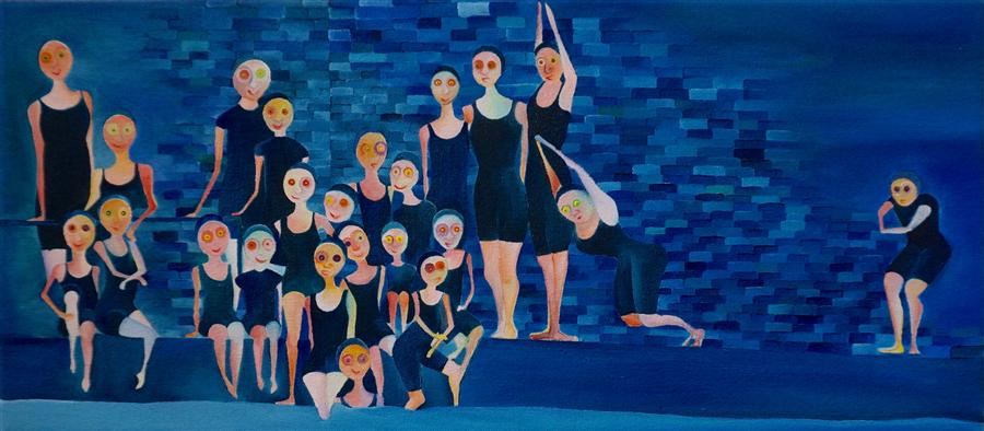 Original art for sale at UGallery.com | Public Bath by LUCILLE PACK | $1,550 | Oil painting | 8' h x 18' w | http://www.ugallery.com/oil-painting-public-bath