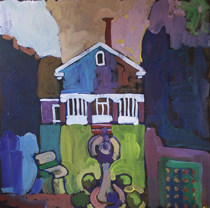 Original art for sale at UGallery.com | House with Lawn by ROBERT HOFHERR | $1,050 | Acrylic painting | 24' h x 24' w | http://www.ugallery.com/acrylic-painting-house-with-lawn