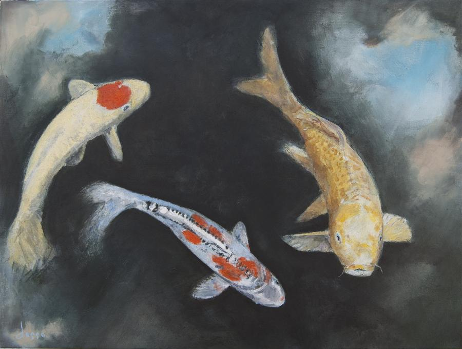 Original art for sale at UGallery.com | Koi Pond with Sky Lights by ANNE DOSSO-POWELL | $1,425 | Oil painting | 18' h x 24' w | http://www.ugallery.com/oil-painting-koi-pond-with-sky-lights