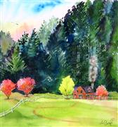 Impressionism art,Landscape art,Nature art,Representational art,watercolor painting,Sweet Cottage in the Hills