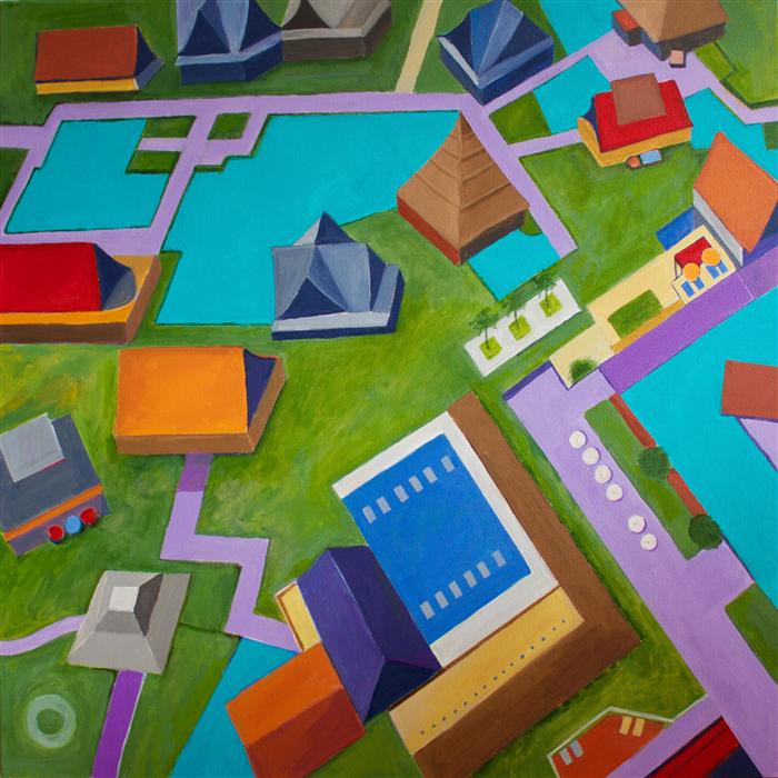 Original art for sale at UGallery.com | Pagoda Houses by TONI SILBER-DELERIVE | $3,575 | Acrylic painting | 36' h x 36' w | http://www.ugallery.com/acrylic-painting-pagoda-houses