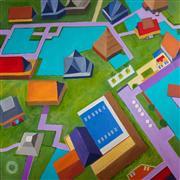 Architecture art,Representational art,Modern  art,acrylic painting,Pagoda Houses