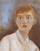 Expressionism art,People art,Fashion art,Representational art,oil painting,Here in Body But Not in Soul