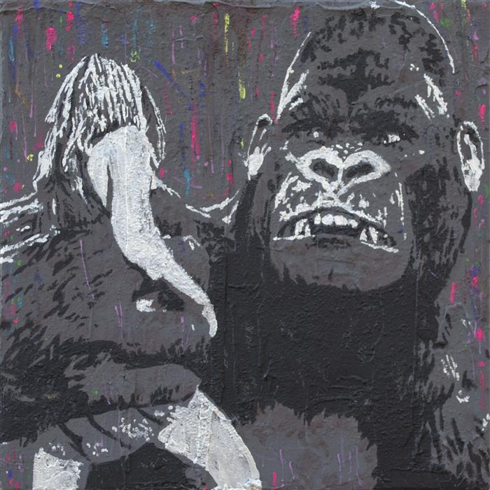Original art for sale at UGallery.com | Kong by BILL WATSON | $250 | Mixed media artwork | 12' h x 12' w | http://www.ugallery.com/mixed-media-artwork-kong