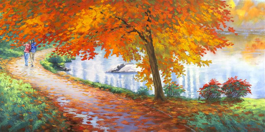 Discover Original Art by Stanislav Sidorov | Autumn Trail oil painting | Art for Sale Online at UGallery