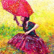 Discover Original Art by Iris Scott | Apple Blossom Rain oil painting | Art for Sale Online at UGallery