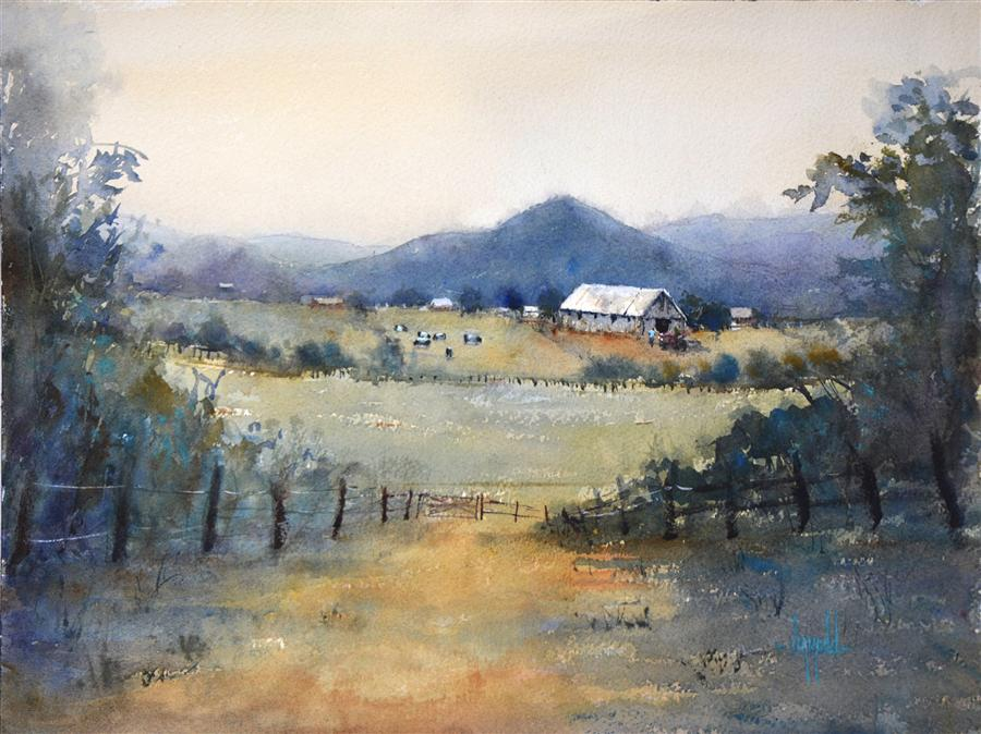 Original art for sale at UGallery.com | The Love of Farming by JUDY MUDD | $650 | Watercolor painting | 12' h x 16' w | http://www.ugallery.com/watercolor-painting-the-love-of-farming