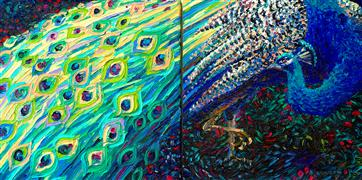 Discover Original Art by Iris Scott | Black Peacock Diptych oil painting | Art for Sale Online at UGallery