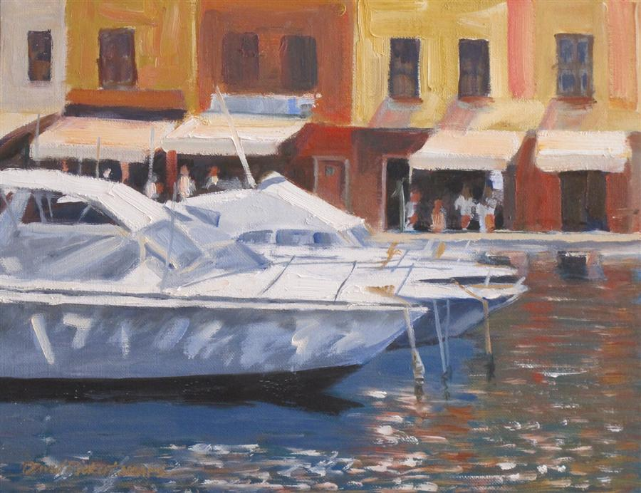 Original art for sale at UGallery.com | Portofino Marina by DAVID RICKERT | $600 | Oil painting | 11' h x 14' w | http://www.ugallery.com/oil-painting-portofino-marina