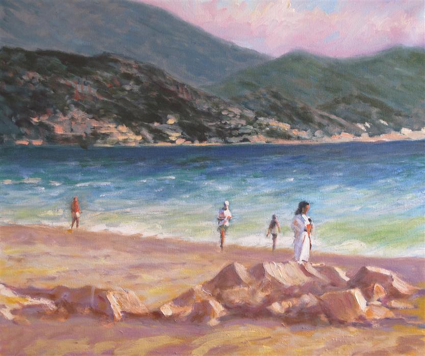Original art for sale at UGallery.com | Puerto Vallarta Beach by DAVID RICKERT | $975 | Oil painting | 20' h x 24' w | http://www.ugallery.com/oil-painting-puerto-vallarta-beach
