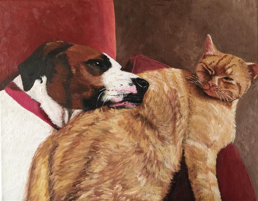 Original art for sale at UGallery.com | The Secret Lives of Pets by PATRICIA FREEMAN | $575 | Acrylic painting | 16' h x 20' w | http://www.ugallery.com/acrylic-painting-the-secret-lives-of-pets