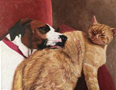 Realism art,acrylic painting,The Secret Lives of Pets