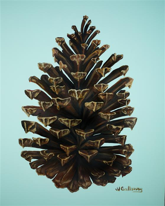 Discover Original Art by JJ Galloway | Gilded Pine Cone oil painting | Art for Sale Online at UGallery