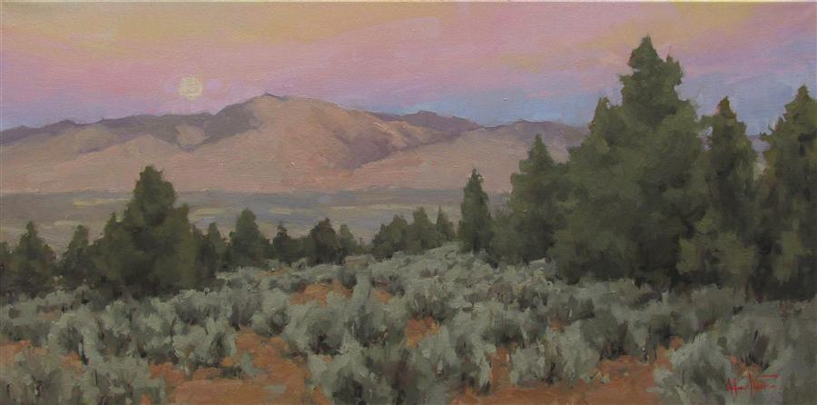 Original art for sale at UGallery.com | Moonrise and Juniper by MELANIE THOMPSON | $1,025 | Oil painting | 12' h x 24' w | http://www.ugallery.com/oil-painting-moonrise-and-juniper