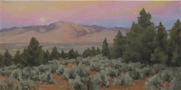 Western art,oil painting,Moonrise and Juniper