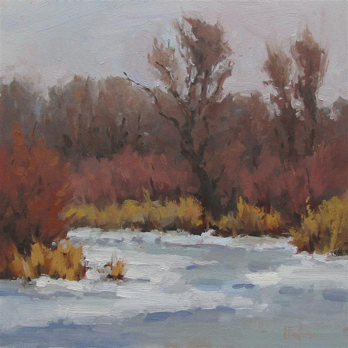Original art for sale at UGallery.com | Winter on the Marsh by MELANIE THOMPSON | $650 | Oil painting | 12' h x 12' w | http://www.ugallery.com/oil-painting-winter-on-the-marsh