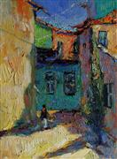 Architecture art,Impressionism art,Representational art,oil painting,Memories from Old Yard