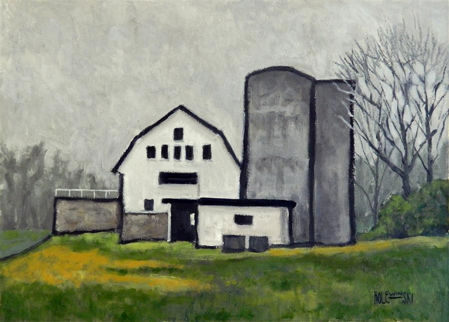Discover Original Art by Robert  Holewinski | Vineyard Barn oil painting | Art for Sale Online at UGallery