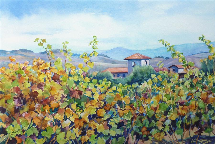 Discover Original Art by Catherine McCargar | Wine Country 2 watercolor painting | Art for Sale Online at UGallery