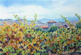 Impressionism art,Landscape art,Representational art,watercolor painting,Wine Country 2