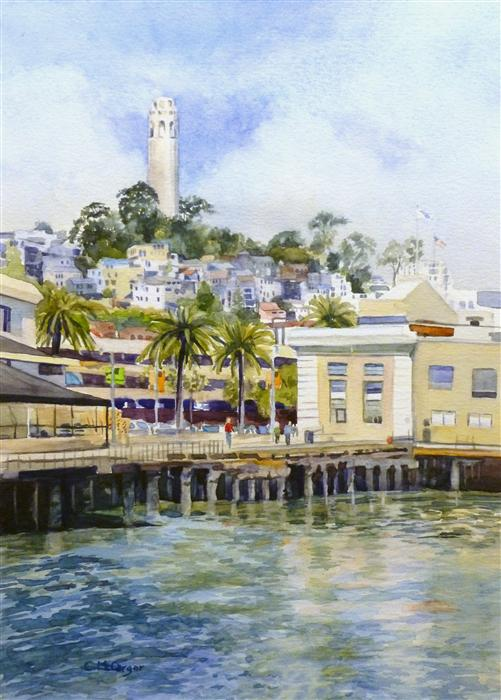 Original art for sale at UGallery.com | Coit Tower, San Francisco by CATHERINE MCCARGAR | $425 | Watercolor painting | 14' h x 10' w | http://www.ugallery.com/watercolor-painting-coit-tower-san-francisco