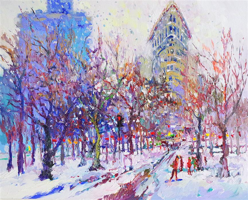 Discover Original Art by Suren Nersisyan | Winter (New York, Flatiron Building) oil painting | Art for Sale Online at UGallery