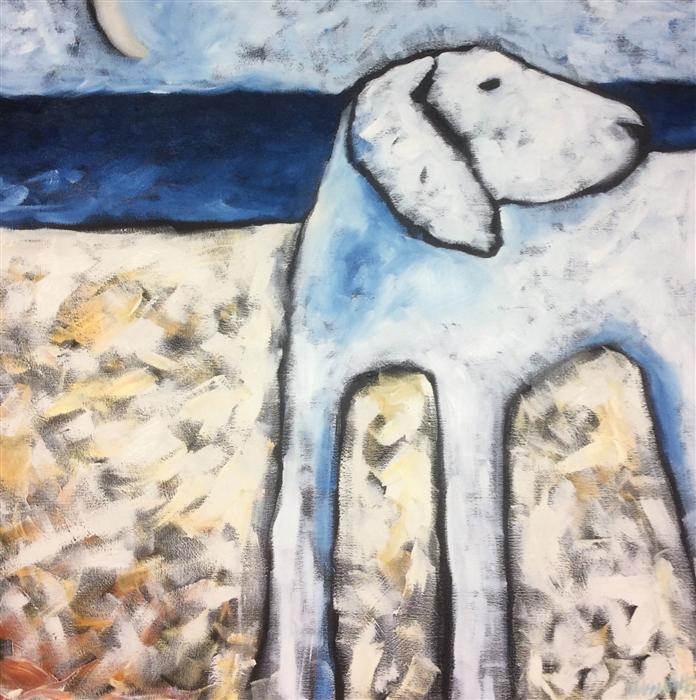 Discover Original Art by Jaime Ellsworth | White Dog at South Beach oil painting | Art for Sale Online at UGallery