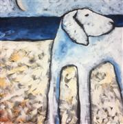 Animals art,Representational art,Primitive art,oil painting,White Dog at South Beach