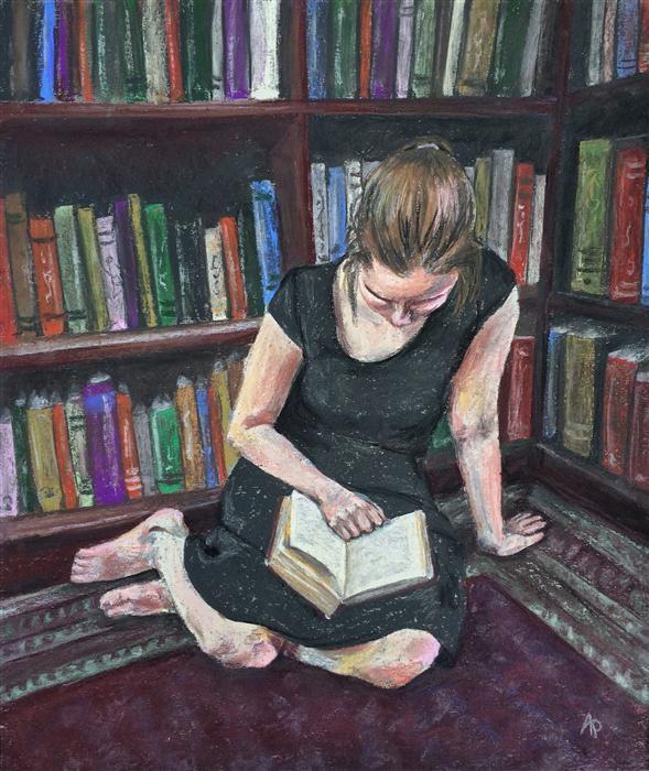 Original art for sale at UGallery.com | The Reader by ANASTASIA PIMENTEL | $325 | Pastel artwork | 13' h x 11' w | http://www.ugallery.com/pastel-artwork-the-reader