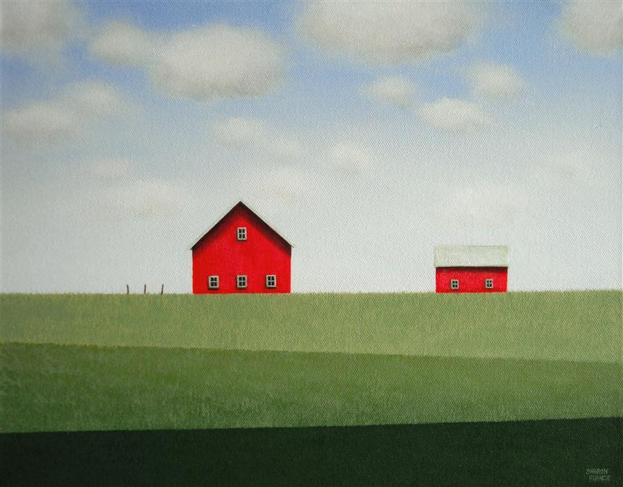 Original art for sale at UGallery.com | Red Barn - Banded Fields by SHARON  FRANCE | $600 | Acrylic painting | 11' h x 14' w | http://www.ugallery.com/acrylic-painting-red-barn-banded-fields