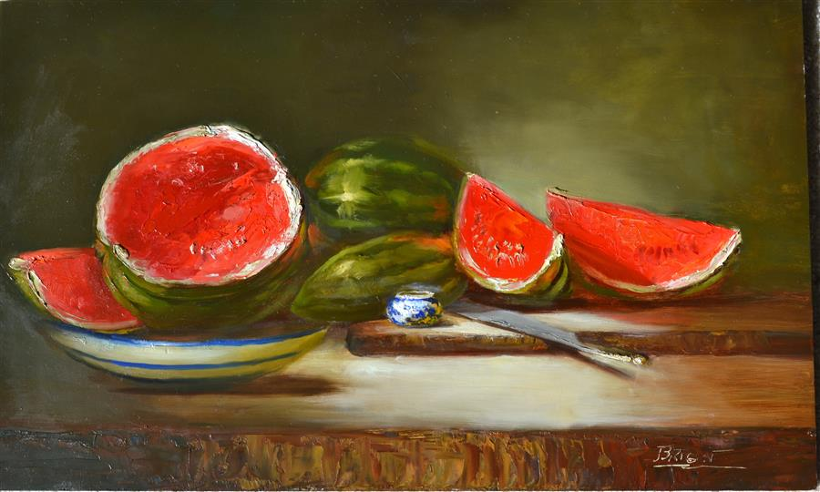 Original art for sale at UGallery.com | Seedless and Proud by JULIA BRIGHT | $3,600 | Oil painting | 18' h x 30' w | http://www.ugallery.com/oil-painting-seedless-and-proud