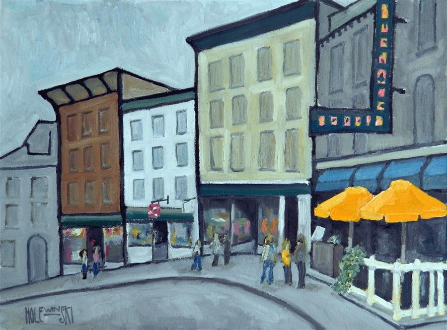 Discover Original Art by Robert  Holewinski | Orange Umbrellas oil painting | Art for Sale Online at UGallery